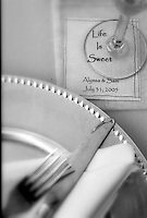 life is sweet table setting at wedding reception