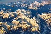 Aerial view of snow capped Alpine Swiss mountain peaks around Zermatt, Switzerland