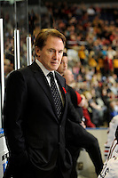 KELOWNA, CANADA - NOVEMBER 4: Mike Johnston, GM and Head Coach of the Portland Winterhawks stands on the bench opposite the Kelowna Rockets at Prospera Place on November 4, 2011 (Photo by Marissa Baecker/Shoot the Breeze) *** Local Caption ***Mike Johnston;