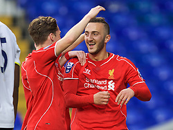 LONDON, ENGLAND - Friday, April 17, 2015: Liverpool's Samid Yesil celebrates scoring the second goal against Tottenham Hotspur during the Under 21 FA Premier League match at White Hart Lane. (Pic by David Rawcliffe/Propaganda)