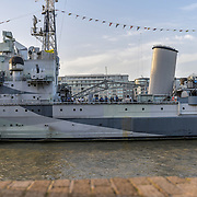 HMS Belfast at The Queen walk street Photography, on 28 June 2019, London, UK.
