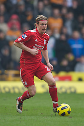 WOLVERHAMPTON, ENGLAND - Saturday, January 22, 2011: Liverpool's Christian Poulsen in action against Wolverhampton Wanderers during the Premiership match at Molineux. (Photo by David Rawcliffe/Propaganda)