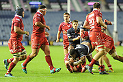 Man of the match Bill Mata on the ball during the Guinness Pro 14 2018_19 match between Edinburgh Rugby and Scarlets at BT Murrayfield Stadium, Edinburgh, Scotland on 2 November 2018.