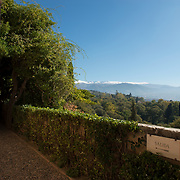 View of Sierra Nevada from La Alhambra. Grenada, Spain.