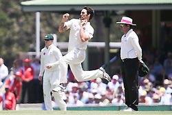 © Licensed to London News Pictures. 04/01/2014. Mitchell Johnson leaps while bowling during day 2 of the 5th Ashes Test Match between Australia Vs England at the SCG on 4 January, 2013 in Melbourne, Australia. Photo credit : Asanka Brendon Ratnayake/LNP