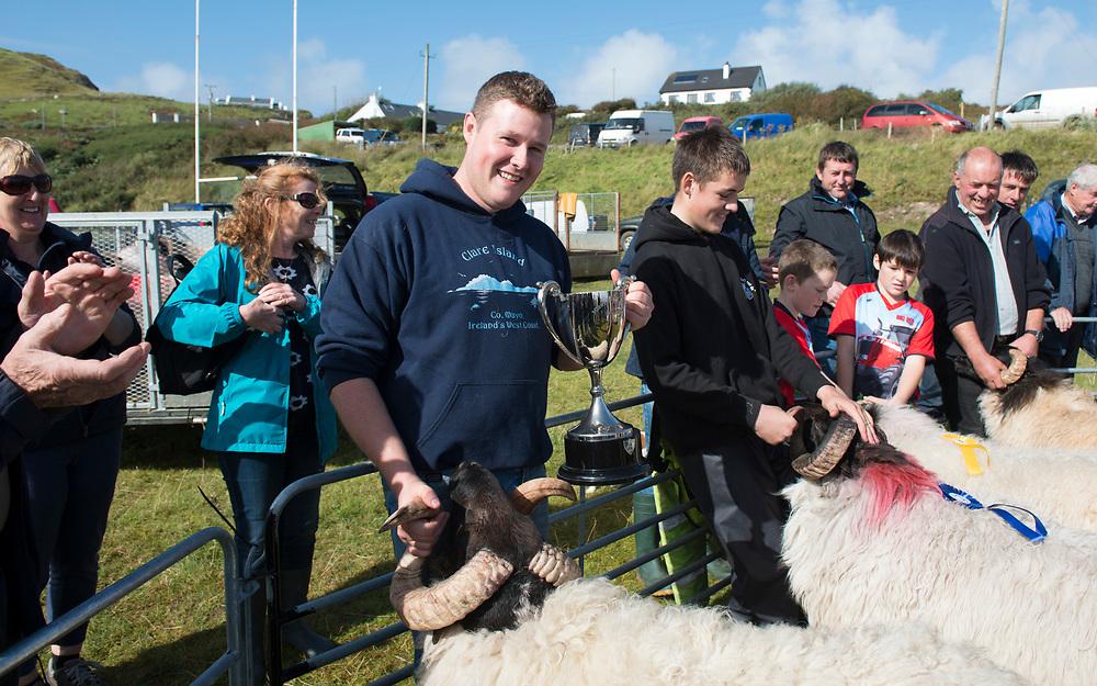 Clare Island Ram Fair &amp; Sheep Dog Trials.<br /> Brian O'Malley who won the hogget blackface Ram catagory. Pic: Michael Mc Laughlin
