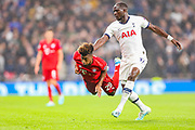 Bayern Munich midfielder Kingsley Coman (29) is tackled by Tottenham Hotspur midfielder Moussa Sissoko (17) during the Champions League match between Tottenham Hotspur and Bayern Munich at Tottenham Hotspur Stadium, London, United Kingdom on 1 October 2019.
