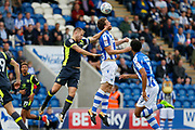 Colchester United's Tom Eastman(18) heads the ball during the EFL Sky Bet League 2 match between Colchester United and Carlisle United at the Weston Homes Community Stadium, Colchester, England on 14 October 2017. Photo by Phil Chaplin