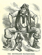 """""""The Brummagem Frankenstein"""":  Reform of Parliament - extension of the franchise.  John Bright at a Reform meeting in Birmingham said he had no fear of universal male suffrage.  John Tenniel cartoon from """"Punch"""", London, 8 September 1866."""