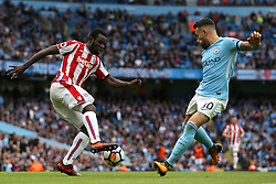 Mame Biram Diouf of Stoke City and Nicolas Otamendi of Manchester City - Mandatory by-line: Matt McNulty/JMP - 14/10/2017 - FOOTBALL - Etihad Stadium - Manchester, England - Manchester City v Stoke City - Premier League