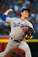 PHOENIX, AZ - JUNE 14:  Kenta Maeda #18 of the Los Angeles Dodgers delivers a pitch in the first inning against the Arizona Diamondbacks at Chase Field on June 14, 2016 in Phoenix, Arizona.  (Photo by Jennifer Stewart/Getty Images)
