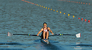 Sydney, Australia.  GBR M1X Jonathan WALTON, moves away from the start in his heat of the Men's Single Sculls. FISA World Cup I. and the Sydney International Rowing Regatta. Sydney International Rowing Centre, Penrith Lakes, NSW.   Friday   22/03/2013 [Mandatory Credit. Peter Spurrier/Intersport Images]..