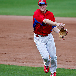 Feb 26, 2013; Clearwater, FL, USA; Philadelphia Phillies third baseman Cody Asche (72) against the New York Yankees during a spring training game at Bright House Field. Mandatory Credit: Derick E. Hingle-USA TODAY Sports