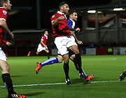 FC United's Tom Greaves looks on to a miss timed shot during the The FA Cup match between FC United of Manchester and Chesterfield at Broadhurst Park, Manchester, United Kingdom on 9 November 2015. Photo by Pete Burns.