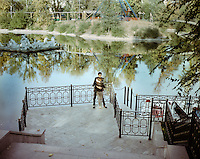 Gorki Park is the largest recreational area in the centre of Amaty (Alma Ata), Kazakhstan. Although the glory of it's socialist past has faded, the park became a place of retreat for all those who cannot afford the high prizes in the city centre, where Kazakhstan's new elite celebrates its wealthiness.