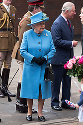 © Licensed to London News Pictures. 24/10/2017. London, UK. Queen Elizabeth II visits the Household Cavalry Mounted Regiment at Hyde Park Barracks. Photo credit: Ray Tang/LNP