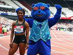 July 21, 2018 - London, United Kingdom - Shelly-Ann Fraser -Pryce  Winner of the 100m Women with Britbear during the Muller Anniversary Games IAAF Diamond League Day One at The London Stadium on July 21, 2018 in London, England. (Credit Image: © Action Foto Sport/NurPhoto via ZUMA Press)