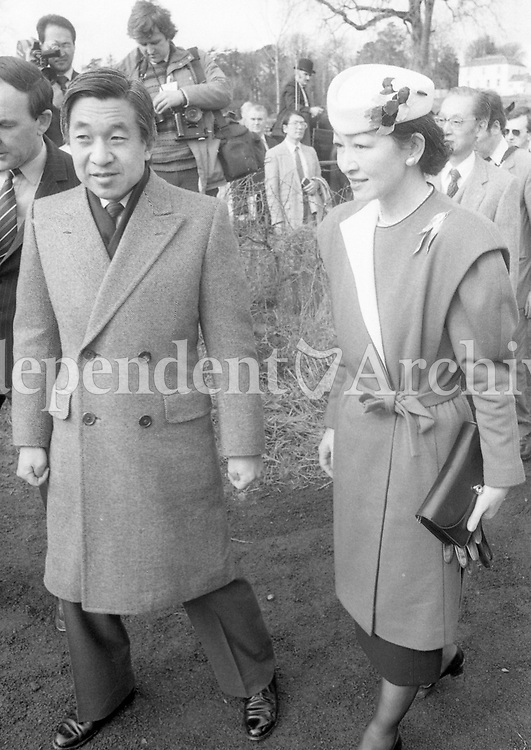 The Japanese Royal Couple, Crown Prince Akihito and Crown Princess Michiko during their visit to Craggaunowen Co Clare an early simulated settlement, 22/03/1985 (Part of the Independent Newspapers Ireland/NLI Collection).