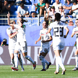 Alexandra Popp of Germany celebrates his scoring with team-mates during the Women's World Cup match between Germany and South Africa at Stade de la Mosson on June 17, 2019 in Montpellier, France. (Photo by Alexandre Dimou/Icon Sport)