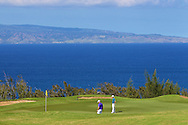 January 11 2015:  Hunter Mahan and Kevin Streelman on the twelfth green of the Third Round of the Hyundai Tournament of Champions at Kapalua Plantation Course on Maui, HI.