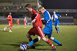 BRISTOL, ENGLAND - Thursday, January 15, 2009: Liverpool's Adam Pepper in action against Bristol Rovers' Mark Cooper during the FA Youth Cup match at the Memorial Stadium. (Mandatory credit: David Rawcliffe/Propaganda)