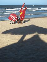 Icecream vendor on the beach. Fortaleza, Brazil.