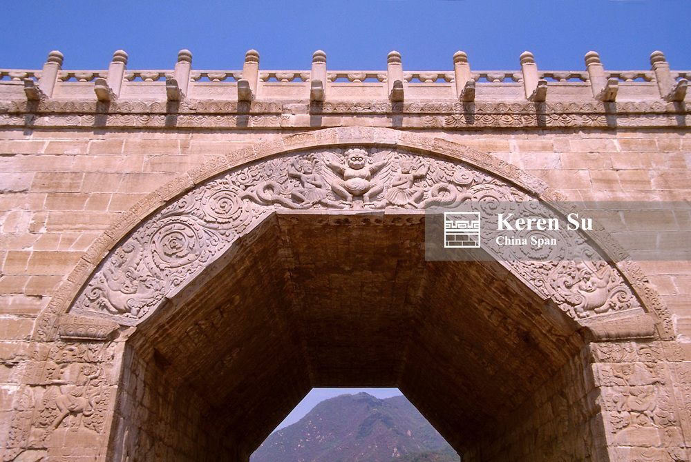 Carved details on the arch gate in Juyongguan Pass of Great Wall, Beijing, China