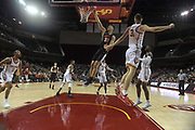 Dec 19, 2017; Los Angeles, CA, USA; Princeton Tigers forward Alec Brennan (35) dunks the ball against Southern California Trojans forward Nick Rakocevic (31) during an NCAA basketball game at Galen Center. Princeton defeated USC 103-93 in overtime.