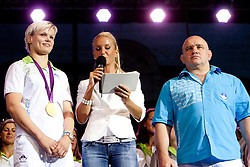 Urska Zolnir, Anja Bohinc and Marjan Fabjan during reception of Slovenian Olympic Team at Kongresni Trg when they came back from London after Summer Olympic games 2012, on August 14, 2012 in Center of Ljubljana, Slovenia (Photo by Urban Urbanc / Sportida.com)