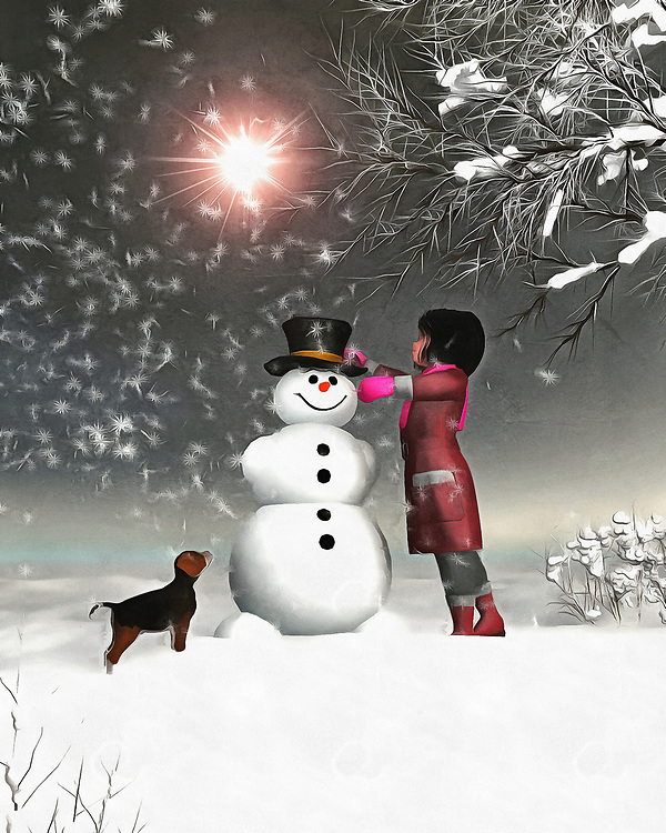 Amy and Buddy find themselves in an enchanting, breathtaking winter wonderland. There is no actual magic in this scene, in which Amy and her faithful dog Buddy work on a snowman together, and yet we can sense that magic all the same. There is something about this scene that brings to mind the very best of winter. It takes us deep into our own memories of those perfect moments in the wintertime. We can look at this moment, and look ahead to where Buddy and Amy will turn up next. Most likely, beside a roaring fire. Available as wall art, on t-shirts, or interior home décor products. .<br />