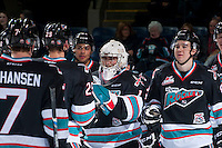 KELOWNA, CANADA - DECEMBER 2: Jackson Whistle #1 of Kelowna Rockets celebrates the win against the Kootenay Ice on December 2, 2015 at Prospera Place in Kelowna, British Columbia, Canada.  (Photo by Marissa Baecker/Shoot the Breeze)  *** Local Caption *** Jackson Whistle;