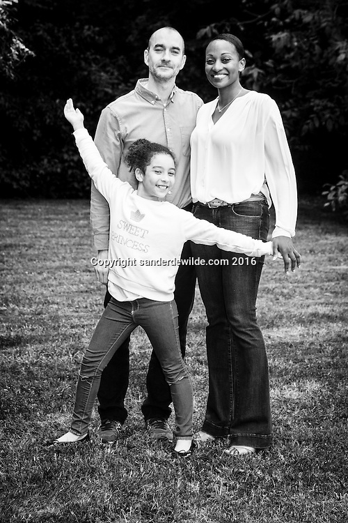 Lasne, Belgium 11 June 2016. Family of Maryse Gallagher in their garden in Lasne