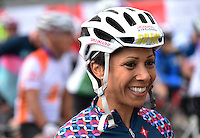 LONDON UK 31ST JULY 2016:  Dame Kelly Holmes, Gold Medal winning athlete Queen Elizabeth Olympic Park. The Prudential RideLondon-Surrey 100 Sportive in London 31st July 2016<br /> <br /> Photo: Jon Buckle/Silverhub for Prudential RideLondon<br /> <br /> Prudential RideLondon is the world's greatest festival of cycling, involving 95,000+ cyclists – from Olympic champions to a free family fun ride - riding in events over closed roads in London and Surrey over the weekend of 29th to 31st July 2016. <br /> <br /> See www.PrudentialRideLondon.co.uk for more.<br /> <br /> For further information: media@londonmarathonevents.co.uk