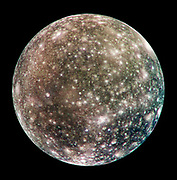 Bright scars on a darker surface testify to a long history of impacts on Jupiter's moon Callisto in this image of Callisto from NASA's Galileo spacecraft. The picture, taken in May 2001, is the only complete global colour image of Callisto obtained by Galileo, which has been orbiting Jupiter since December 1995. Of Jupiter's four largest moons, Callisto orbits farthest from the giant planet.