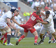 Twickenham Great Britain. Wales sub Ken OWENS and Englands', Mako VUNIPOLA grapple, as Dave ATTWOOD, grabs a handful of OWENS, shorts during the 2014 RBS Six Nations Rugby; England vs Wales, at the RFU Stadium, Twickenham, England.   [Mandatory Credit; Peter Spurrier/Intersport-images]