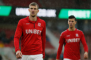 Middlesbrough defender Aden Flint (24) and Middlesbrough defender Daniel Ayala (4)  warming up  during the EFL Sky Bet Championship match between Middlesbrough and Derby County at the Riverside Stadium, Middlesbrough, England on 27 October 2018.