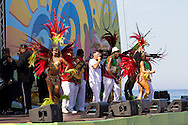 The Grande Rio Samba School perform at the FIFA Fan Fest, Rio de Janeiro, before the Argentina v Belgium World Cup quarter final match.<br /> Picture by Andrew Tobin/Focus Images Ltd +44 7710 761829<br /> 05/07/2014