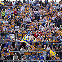 Clare supporters encourage their team as they come within 2 points of Tipperary during their Munster Senior Hurling Championship Semi-Final clash in the Gaelic Grounds in Limerick on Sunday.<br /> Photograph by Yvonne Vaughan.