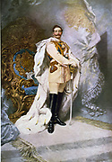 Wilhelm II  (1859-1941) Emperor of Germany (1888-1918)  full-length portrait in full uniform and ermine robe, standing in front of throne. Artist, Ferdinand Keller 1842-1922.