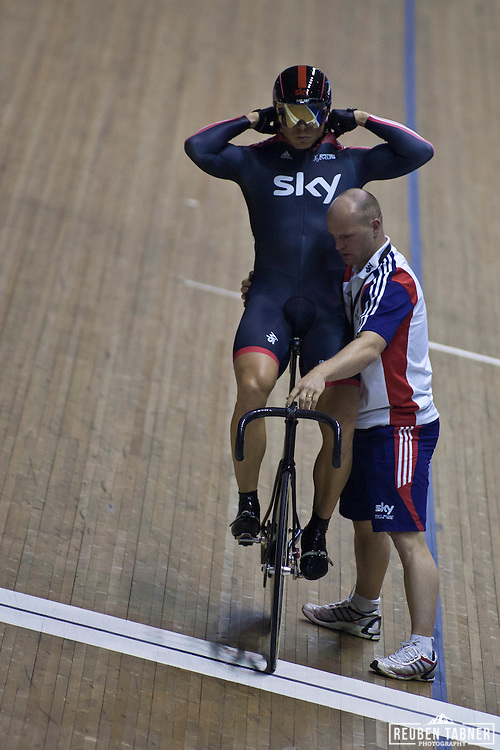 Sir Chris Hoy lines up at the start of heat two of The Men's Sprint, against fellow Sky team mate, Jason Kenny. At the UCI Track Cycling World CUp in Manchester.