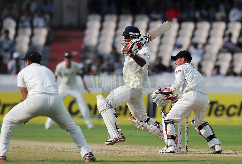 Cheteshwar Pujara of India bats during day one of the first test match between India and New Zealand held at The Rajiv Gandhi International Stadium in Hyderabad, India on the 23rd August 2012..Photo by: Pal Pillai/BCCI/SPORTZPICS