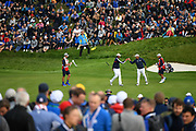Tony Finau and Brooks Koepka (Usa) during the friday morning fourballs session of Ryder Cup 2018, at Golf National in Saint-Quentin-en-Yvelines, France, September 28, 2018 - Photo Philippe Millereau / KMSP / ProSportsImages / DPPI