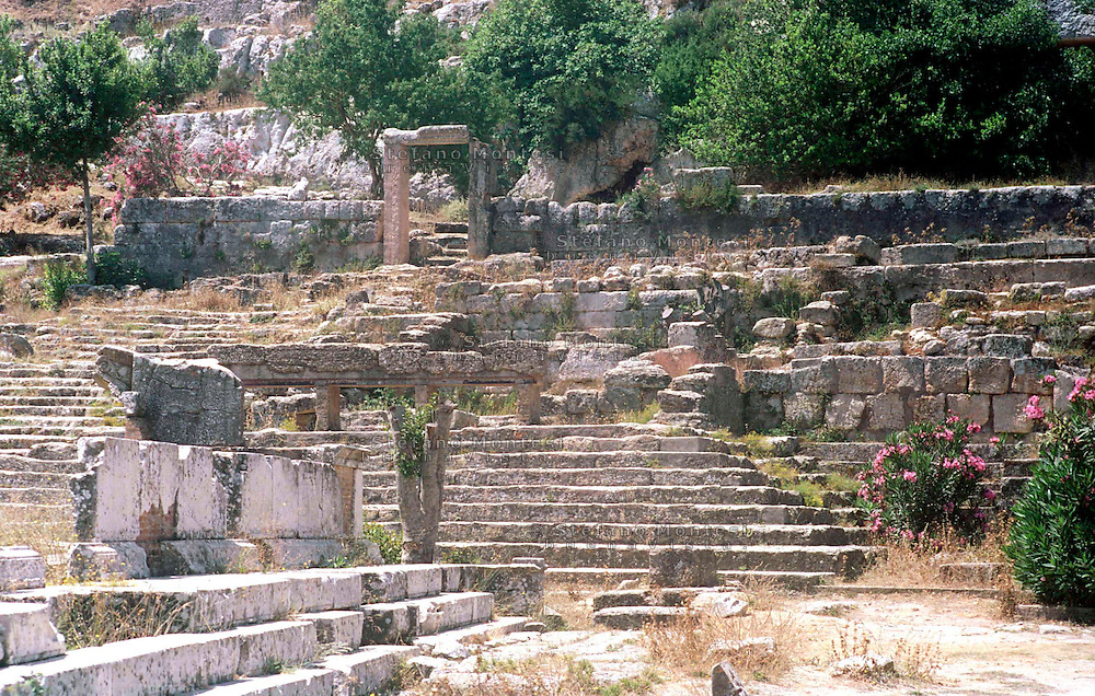 Libya   Cyrene.Archaeological site, Apollo sanctuary,  .City founded by the Greek 3rd century BC.Ruins of Sanctuary of Apollo.UNESCO World Heritage Site.........