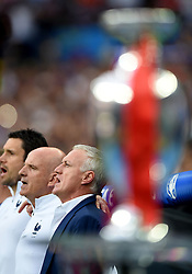 France Manager Didier Deschamps sings the national anthem behind the Henri Delaunay Trophy - Mandatory by-line: Joe Meredith/JMP - 10/07/2016 - FOOTBALL - Stade de France - Saint-Denis, France - Portugal v France - UEFA European Championship Final