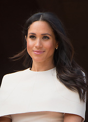 Meghan, Duchess of Sussex smiles during a visit to Chester with The Queen on June 14, 2018.  This is the Duchess's first solo engagement with The Queen