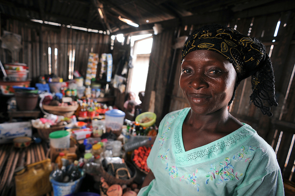 African woman vendor in her own market in Cotonou, Benin on March 1, 2008.