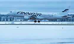 THEMENBILD - ein Finnair Embraer 190 Flugzeug mit der Kennung OH-LKG / OHLKG beim Landeanflug, aufgenommen am 29. November 2016 am Flughafen Kuusamo, Finnland // the Finnair Embraer 190 aircraft with the registration number OH-LKG / OHLKG during landing at the Kuusamo Airport, Finland on 2016/11/29. EXPA Pictures © 2016, PhotoCredit: EXPA/ JFK