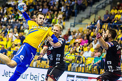 Sarac Josip of RK Celje Pivovarna Lasko with Zachariassen Anders of SG Flensburg-Handewitt during handball match between RK Celje Pivovarna Lasko (SLO) and SG Flensburg Handewitt (GER) in 3rd Round of EHF Men's Champions League 2018/19, on September 30, 2018 in Arena Zlatorog, Celje, Slovenia. Photo by Grega Valancic / Sportida
