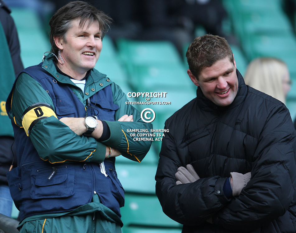 LONDON, ENGLAND - NOVEMBER 27, Dr. Craig Roberts chats to former sharks and springbok Johann Muller during the End of Year tour match between England and South Africa at Twickenham Stadium on November 27, 2010 in London, England<br /> Photo by Steve Haag / Gallo Images