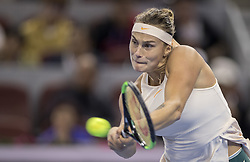 BEIJING , Oct. 2, 2018  Aryna Sabalenka of Belarus hits a return during the women's singles second round match against Garbine Muguruza of Spain at China Open tennis tournament in Beijing, China, Oct. 2, 2018. Aryna Sabalenka won 2-0. (Credit Image: © Fei Maohua/Xinhua via ZUMA Wire)